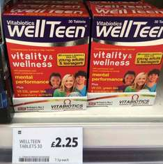 wellteen tablets 30 £2.25  Tesco instore