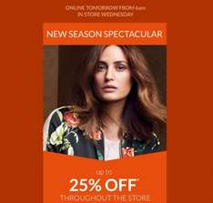 Get up to 25% Off Across All Department @ Debenhams Online  6 00.Am 20/09/16 And Instore 21/09/16