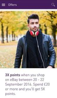 3X Nectar points when you shop on eBay / Spend £20 or more and you'll get 5X points