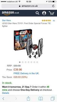 Lego first order tie fighter only £39.96 on Amazon