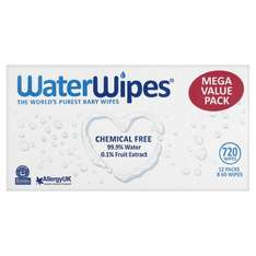 WaterWipes Sensitive Baby Wipes, Natural & Chemical-Free, pack of 12( 720 Wipes) £9.32 (Prime) with voucher @ Amazon