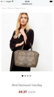 Big reduction in handbags online Upto 63% off at New Look - Mini patchwork tote bag now £9.37