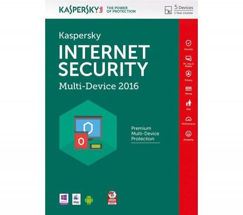Kaspersky Internet Security 2016 5 Users Multi device 1 Year Sealed DVD Case  ( £3 a device ) £15.48 7dayshop