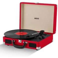 Akai A60011N Rechargeable Turntable And Case - Blue  - Black - Red