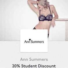 20% Ann Summers in store Unidays discount for those kinky students, available til 16th October
