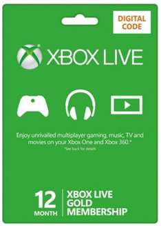 Xbox Live 12 months £28.99 Base
