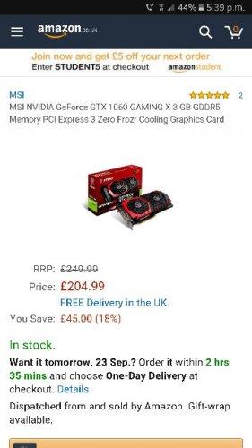 nvidia gtx 1060 3GB msi graphics card £204.99 @ Amazon