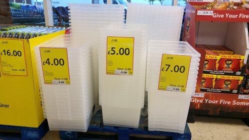 tesco storage boxes - 32l underbed £4/ 45l box with lid £5/ 80l box £7