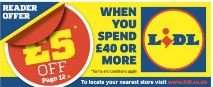 £5 off £40 spend at LIDL voucher - FREE with Metro Newspaper - Friday