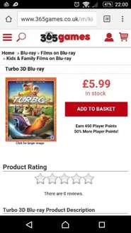 Turbo 3D + Blu Ray + Digital HD £5.99 @ 365 Games + 450 Player Points