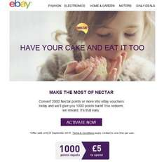 Redeem 2000 Nectar points for Ebay voucher, get 1000 back.