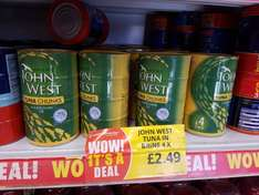 4x johnwest tuna in brine  £2.49 @ poundstretcher Croydon