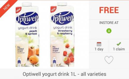 FREEBIE: 2 x Optiwell Yoghurt Drink (1L) via Checkoutsmart & Clicksnap Apps - £2 @ Asda Only...