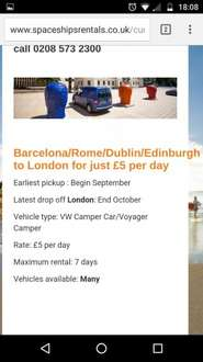 Relocation VW Camper One Way Rental: From Ireland, Spain, Scotland or Italy £5 p/d @ Spaceship Rentals
