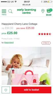Elc happy land cottage & train set potential : £50 to £16.66 1/2 PRICE plus 3 for 2 plus free delivery