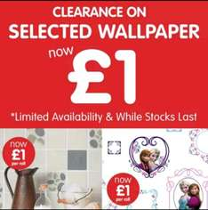 B&M clearance on selected wallpaper only £1