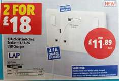 2 for £18: LAP 2-Way SWITCHED SOCKET + 3.1A Twin SMART USB CHARGER @ Screwfix (C&C)