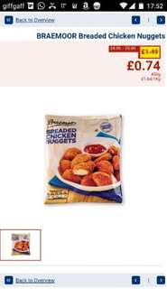 breaded chicken nuggets £0.74 for 450 grams Lidl NI only