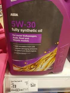 5w30 Fully Synthetic for Petrol and Diesel engines £13.00 @ Asda