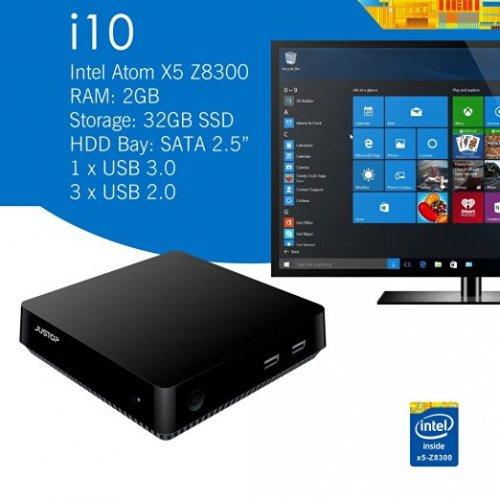 Justop G-PC i10 mini pc. win 10, Atom X5-Z8300, 2Gb, 32GB, HDD bay £94.99 @ digidirect (on amazon marketplace)