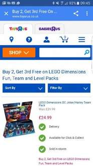Lego dimensions Buy 2 Get 3 free on Lego dimensions Fun. team and level packs £16.66 in Toysrus