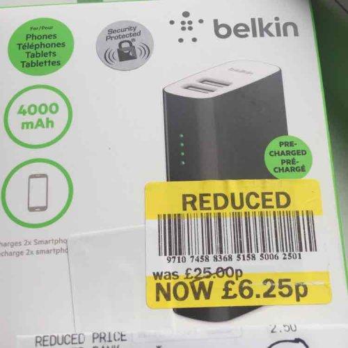 4000mAh twin charger Belkin £6.25 reduced from £25 @ Tesco Stoke.