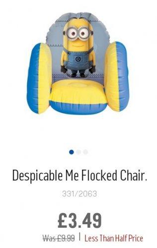 Despicable Me inflatable kids chair £3.49 Argos (c&c)