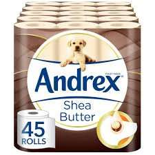 Andrex Shea Butter Toilet Roll Tissue Paper - 45 Rolls £16.10 Prime / £15.29 S&S @ Amazon