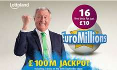 16 EuroMillions Line Bets from Lottoland for £10 through Groupon