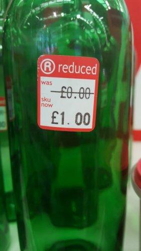 empty wine bottle was £0.00 now £1.00 @ The Range