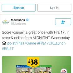 Fifa 17 £38 xbox 360 & one , ps4, ps3 Morrisons