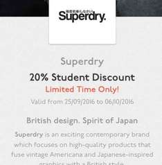 20% off Superdry.com for students on Unidays
