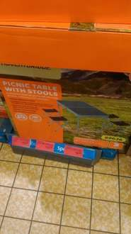 Folding picnic table with stools instore at Aldi for £12.50