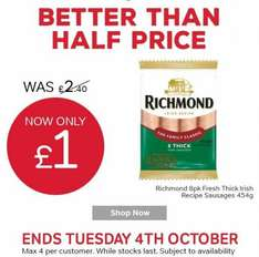 Richmond 8pk (454g) sausages @ Iceland £1.00 (7 day deal)