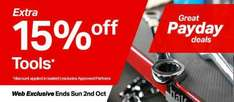 15% off all tools online at Halfords