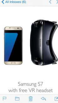 Free new Gear VR headset at no extra cost (via redemption) when you buy Samsung Galaxy S7 £619 @ John Lewis