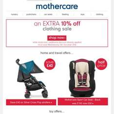 mothercare clothes sale extra 10% off, items from £1