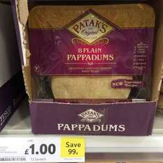 Pataks plain Pappadums reduced from £1.99 to £1.00 in Tesco