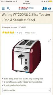 Waring WT200RU Toaster now only £14 with Free c&c @ Tesco Direct
