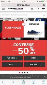 Converse sale at Sarenza (Up to 50% off plus free delivery/returns)