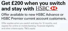 Get £200 when you switch and stay with HSBC Advance