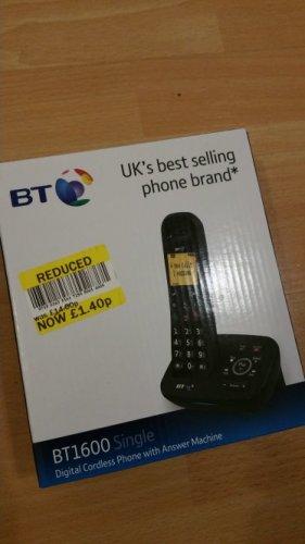 BT1600 Single Digital cordless phone with answer machine £1.40 @ Tesco Oldham