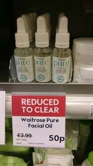 Waitrose 'pure' face oil and cleansing face wash 50p in store (Lutterworth)