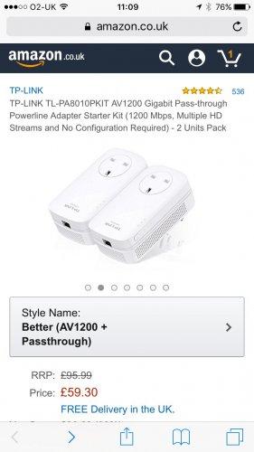 TP-LINK AV1200 Gigabit Pass-through kit £59.30 @ Amazon