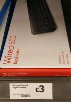 Microsoft Wired 600 Keyboard INSTORE at Sainsburys for £3.00