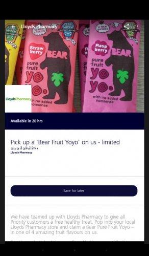 Free fruit bear yo yo from Lloyds Pharmacys with O2 Priority