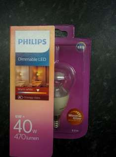 Philips dimmable led small edison (screw) £2 @ B&Q