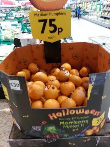 Medium pumpkins 75p large pumpkins £1.50 @ Morrisons