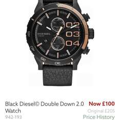 black diesel double down 2.0 watch only £100 at Next