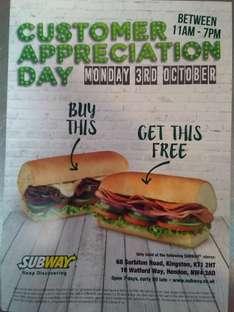 Buy One Get One Free £3.69 @ Subway (Only valid in Hendon Subway, London and Kingston University Subway)